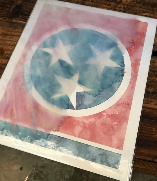 Tennessee flag poster damaged by water