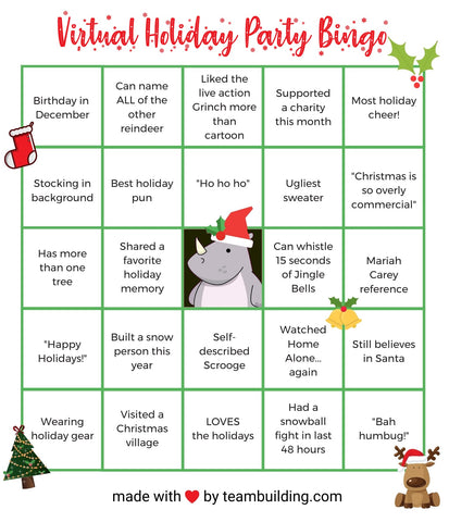 Bingo for Your Virtual Office Holiday Party
