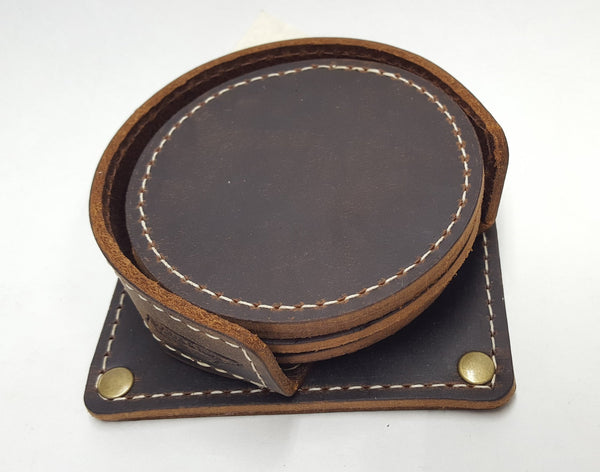Buckle and Hide Leather Coasters (set of 6) & Leather Holder