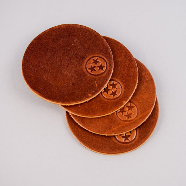 Buckle and Hide Leather Tri-Star Coaster 4-pack