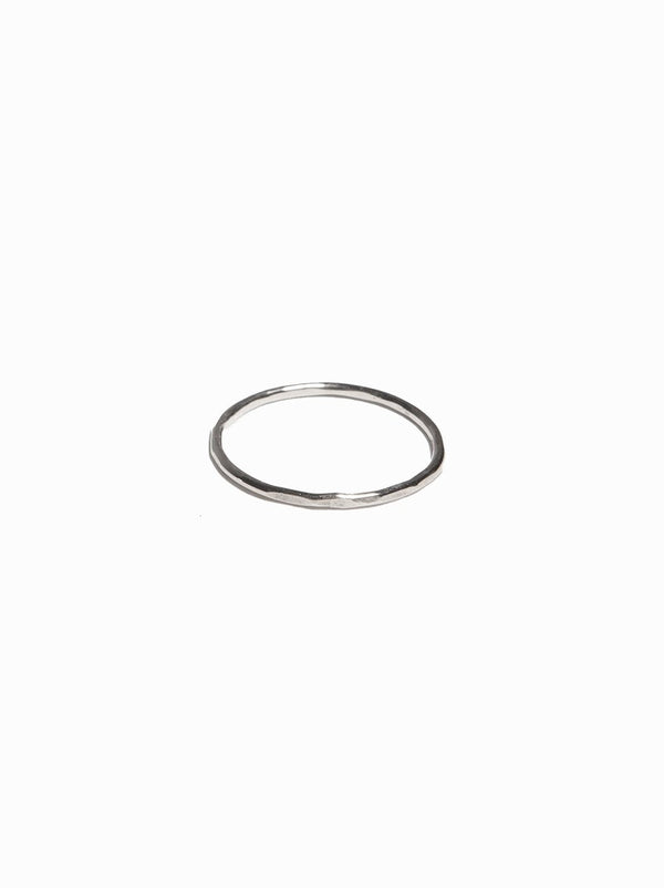 ABLE Hammered Stacking Thin Ring - Silver