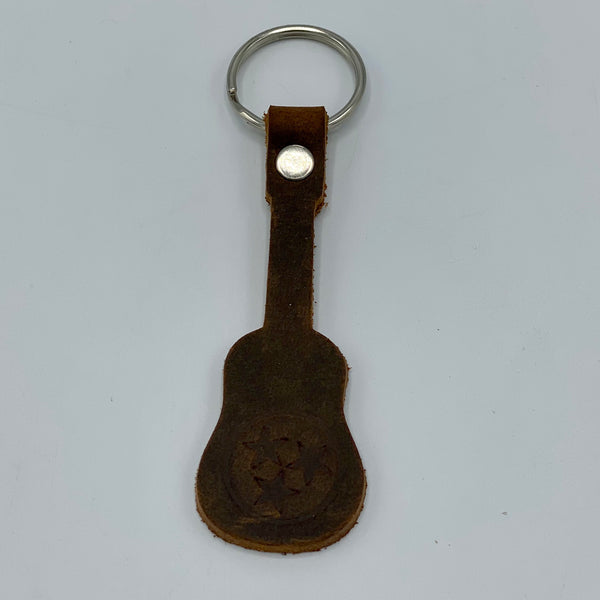 Buckle and Hide Leather Tristar Guitar Keychains
