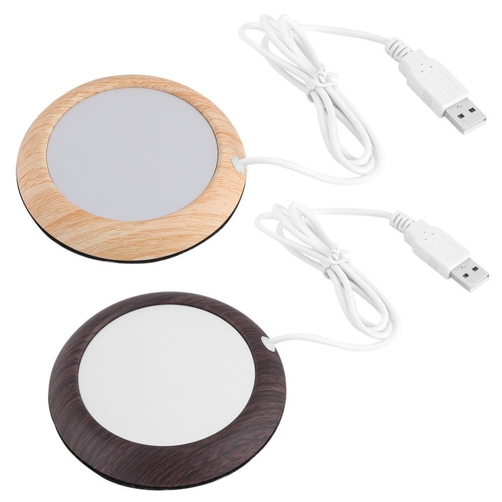 Wood Grain Heated Coaster with USB Port