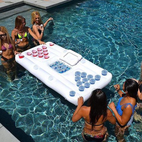Inflatable Floating Beer Pong Table w/ Built In Cooler