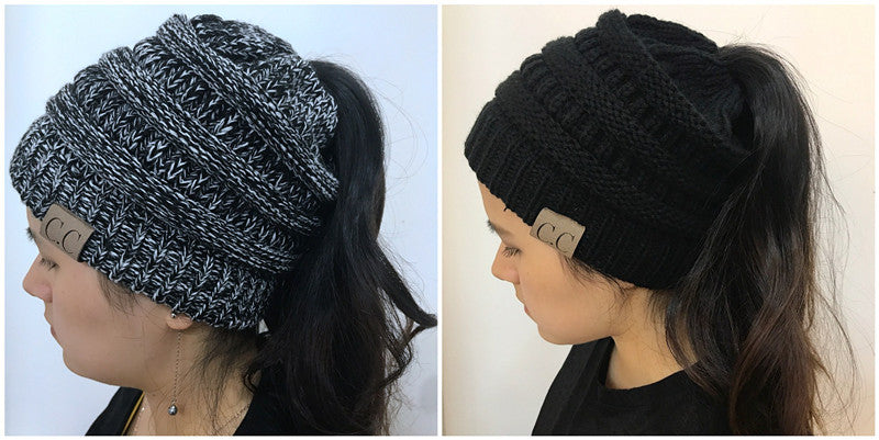 Female Knitted Ponytail Hat