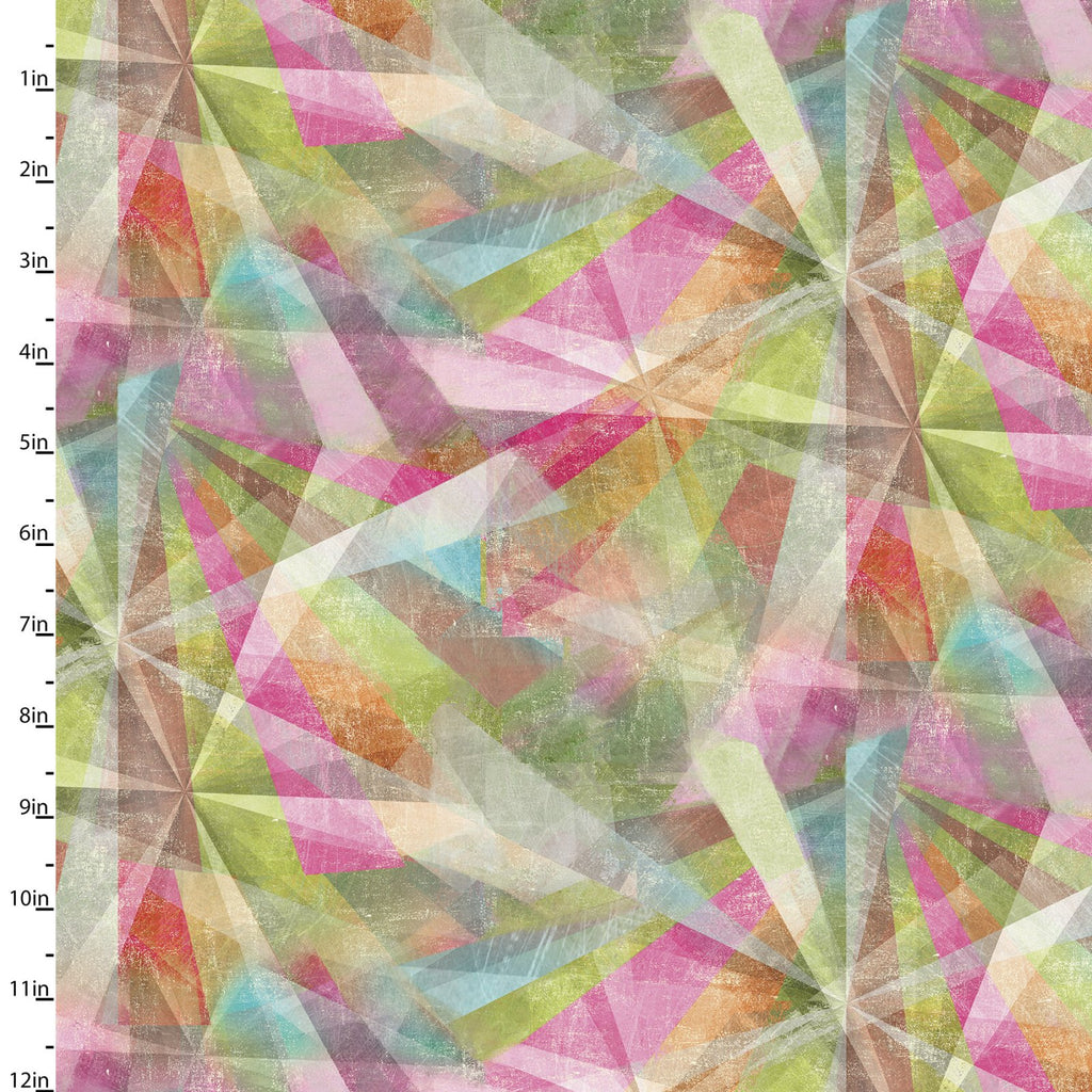 Quilting Fabric KALEIDOSCOPE from The GOOD DOGS TOO Collection by Connie Haley from 3 Wishes, 14846-MULTI