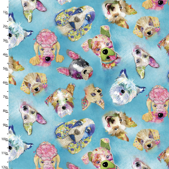 Quilting Fabric Dog Heads from The GOOD DOGS TOO Collection by Connie Haley from 3 Wishes, 14847-BLUE
