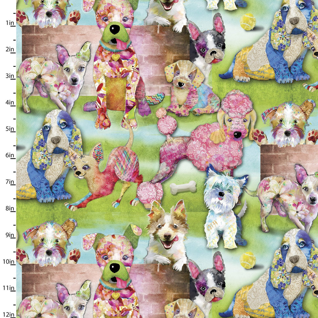 Quilting Fabric Packed Dogs from The GOOD DOGS TOO Collection by Connie Haley from 3 Wishes, 14848-GREEN