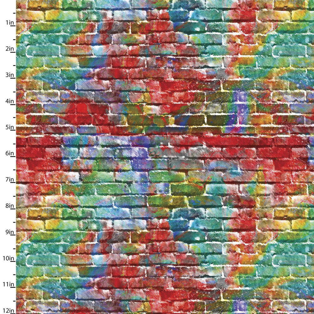Quilting Fabric BRICK WALL from The SIP AND SNIP Collection by Connie Haley from 3 Wishes, 14907-MULTI