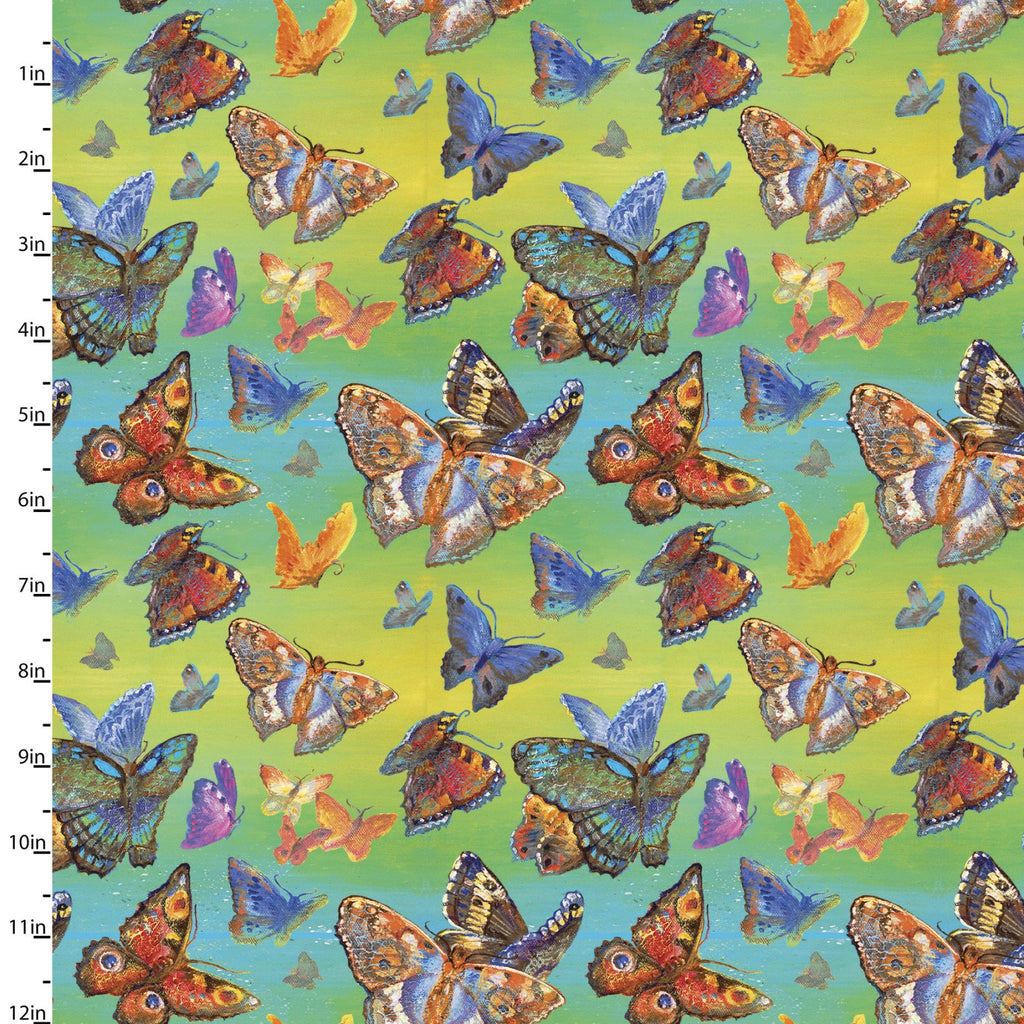Quilting Fabric BUTTERFLIES from The WINGS OF JOY Collection by Josephine Wall from 3 Wishes, 14961-MULTI