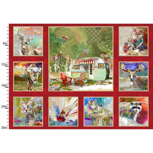 A Panel, Quilting Fabric from The Great Outdoors Collection by Connie Haley from 3 Wishes, 160030-RED-CTN-D