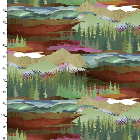 Mountainside Quilting Fabric from The Great Outdoors Collection by Connie Haley from 3 Wishes, 16032-MUL-CTN-D