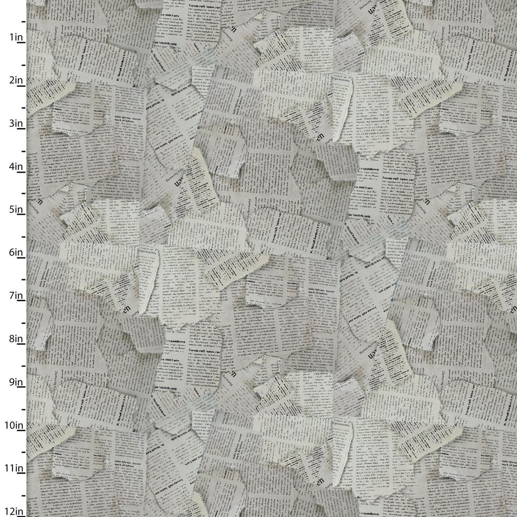 Newspaper Print Quilting Fabric from The Great Outdoors Collection by Connie Haley from 3 Wishes, 16033-GRY-CTN-D