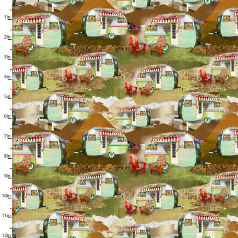 Campers Quilting Fabric from The Great Outdoors Collection by Connie Haley from 3 Wishes, 16034-MUL-CTN-D