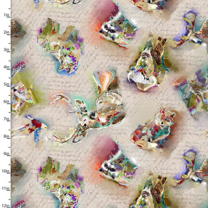 Tossed Animals Quilting Fabric from The Great Outdoors Collection by Connie Haley from 3 Wishes, 16035-TAN-CTN-D