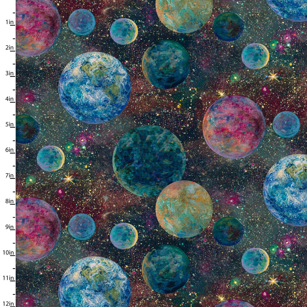 Quilting Fabric PLANETS from The RAY OF HOPE Collection by Josephine Wall from 3 Wishes, 16044-BLUE