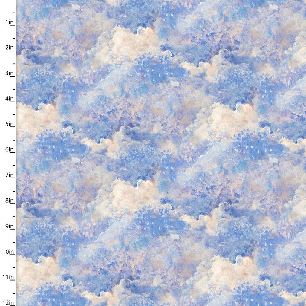 Quilting Fabric CLOUDS from The RAY OF HOPE Collection by Josephine Wall from 3 Wishes, 16050-BLUE