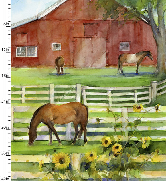 Barn Panel, Quilting Fabric from Sunflower Stampede by John Keeling from 3 Wishes, 16594-MLT-CTN-D
