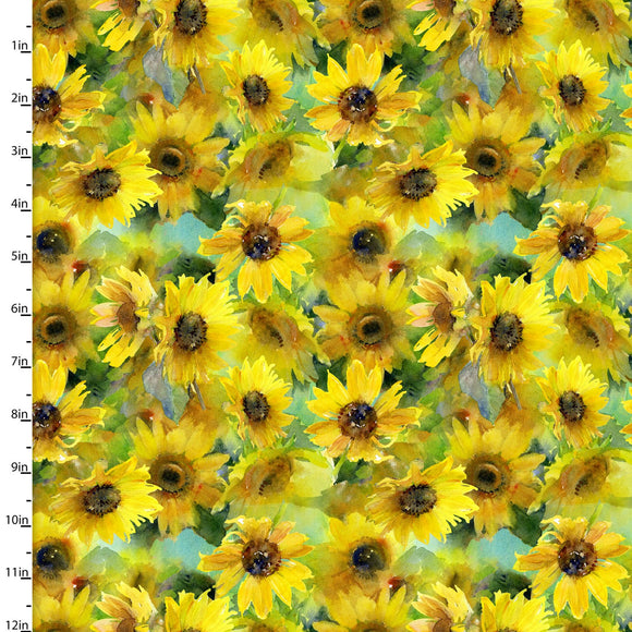 Sunflowers Quilting Fabric from the Sunflower Stampede Collection by John Keeling from 3 Wishes, 16598-YEL-CTN-D