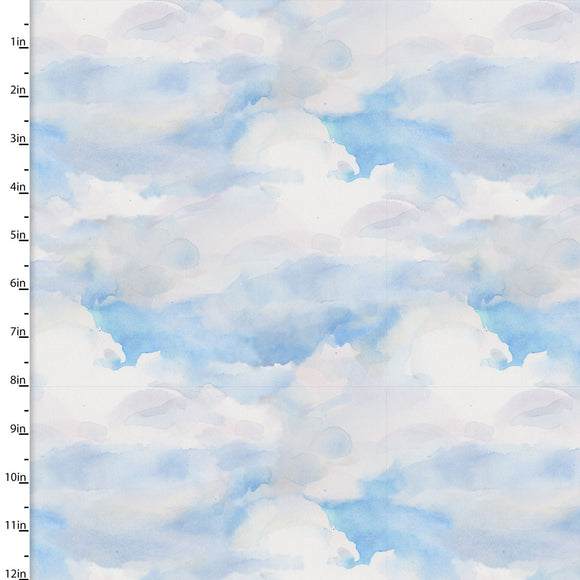 Clouds Quilting Fabric from the Sunflower Stampede Collection by John Keeling from 3 Wishes, 16599-BLU-CTN-D
