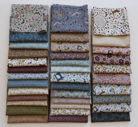 Quilting FABRIC Set of 36 fat 1/8s from Lecien , One Stitch At a Time Collection by Lynnette Anderson.