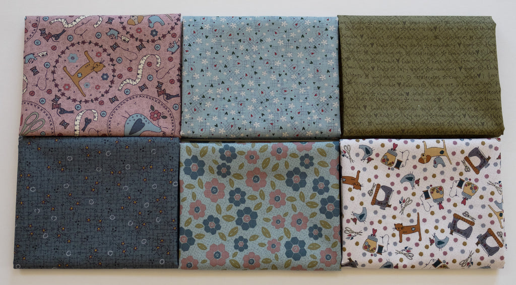 Quilting FABRIC Set# 3 of 6 fat Quarters from Lecien , One Stitch At a Time Collection by Lynnette Anderson.
