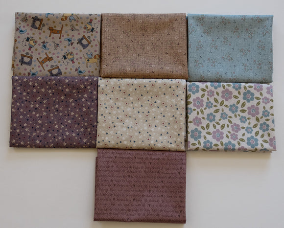 Quilting FABRIC Set# 2 of 7 fat Quarters from Lecien , One Stitch At a Time Collection by Lynnette Anderson.