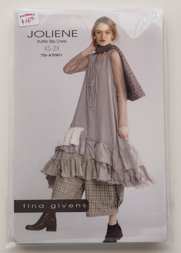 Joliene Ruffle Slip Dress Sewing Pattern by Tina Givens TG-A7001