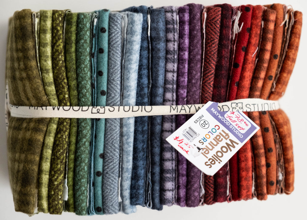 Fabric, Fat 1/4s bundle, 20 pieces, from Maywood Studio, Woolies Flannel Collection, Colors, FQ/MASWOF-COL