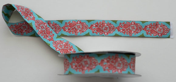Tilda Jacquard Ribbon, Teal, Sunkiss Collection, 400009