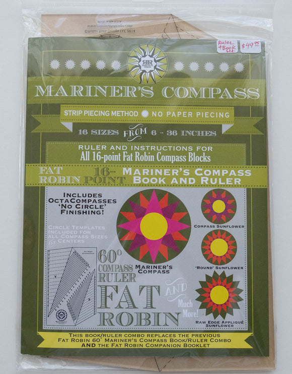 Quilters' Ruler System (Book and Ruler) Mariner Compass 16-Point by Robin Ruth Designs.