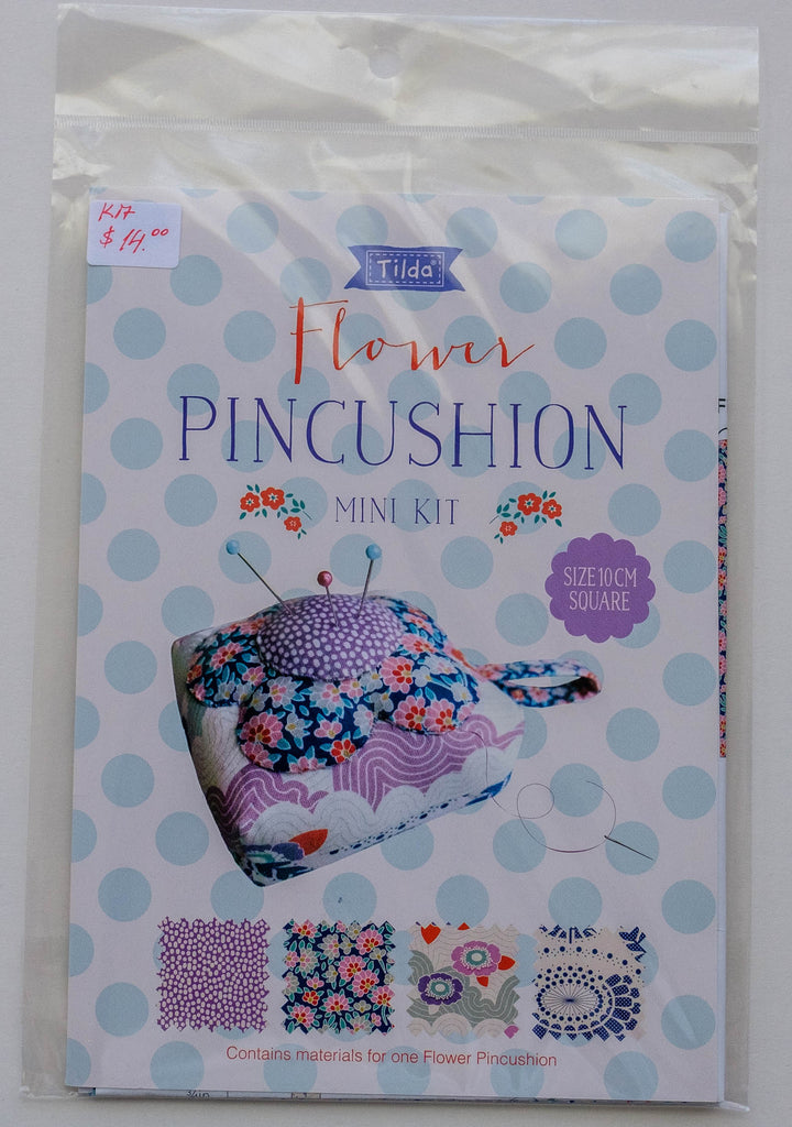 "Tilda Sewing Mini-Kit, Lazy Days Collection, Flower Pincushion, Size 10cm Square  (4"" Square) 500018"