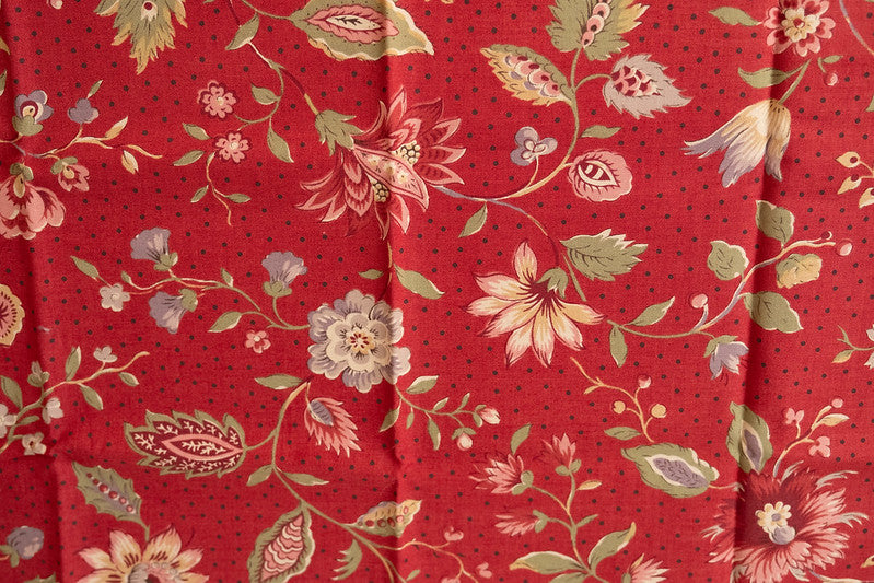 Quilting Fabric Jardin de Versaille by Moda, Pattern# 13810, Field of Flowers, Red