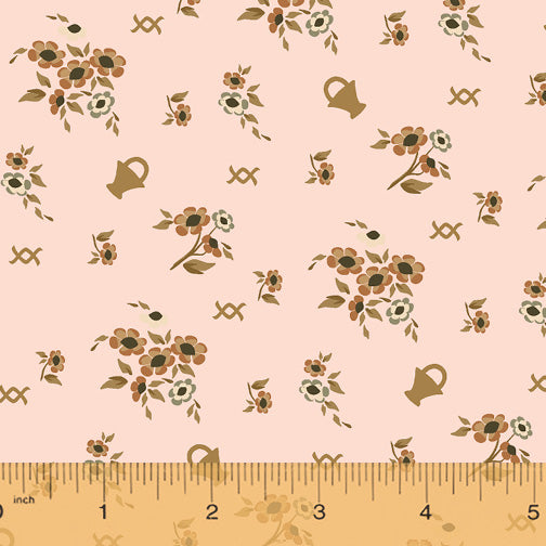 French Armoire, Blooms in My Basket Quilting Fabric from L'Atelier Perdu for Windham Fabrics, 51551-2, Dusty Blush