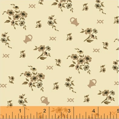 French Armoire, Blooms in My Basket Quilting Fabric from L'Atelier Perdu for Windham Fabrics, 51551-3, Cream