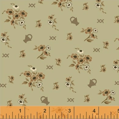 French Armoire, Blooms in My Basket Quilting Fabric from L'Atelier Perdu for Windham Fabrics, 51551-4, Sage