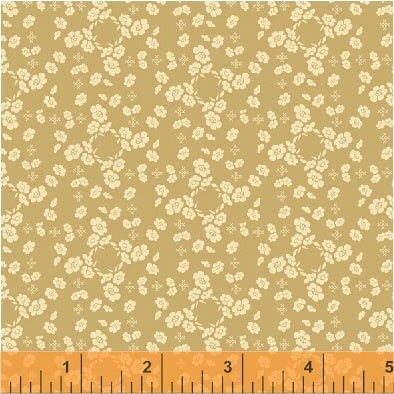 French Armoire, Flower Pillow Quilting Fabric from L'Atelier Perdu for Windham Fabrics, 51552-5, Cafe au Lait