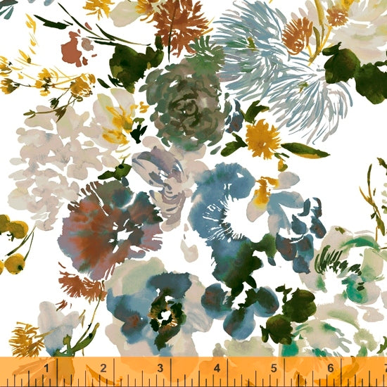 Wildflower Collection, Wild Flower, Teal Cotton Fabric by Kelly Ventura for Windham, 52251-2