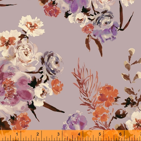 Wildflower Collection, Coral Charm, Mauve Cotton Fabric by Kelly Ventura for Windham, 52252-3
