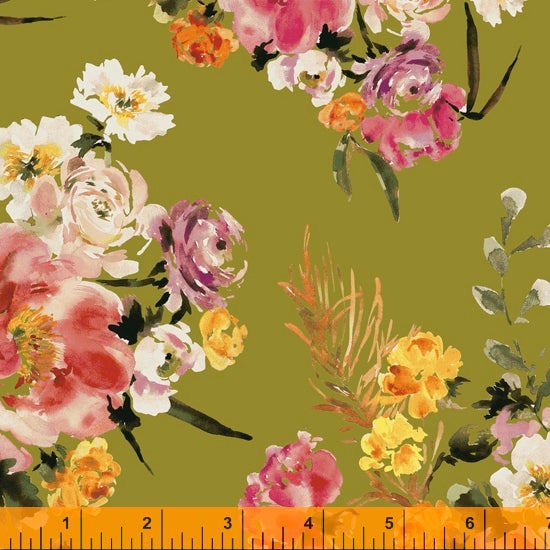 Wildflower Collection, Coral Charm, Olive Cotton Fabric by Kelly Ventura for Windham, 52252-4