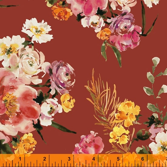 Wildflower Collection, Coral Charm, Cinnabar Cotton Fabric by Kelly Ventura for Windham, 52252-5