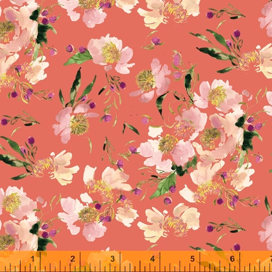 Wildflower Collection, Clair de Lune, Coral Cotton Fabric by Kelly Ventura for Windham, 52253-1