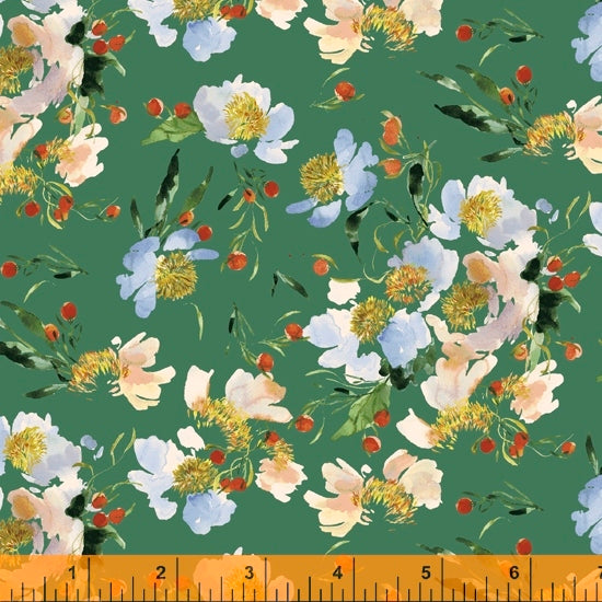 Wildflower Collection, Clair de Lune, Spruce Cotton Fabric by Kelly Ventura for Windham, 52253-8