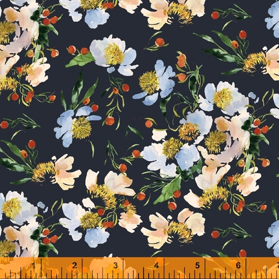 Wildflower Collection, Clair de Lune, Midnight Canvas Fabric by Kelly Ventura for Windham, 52252DC-6