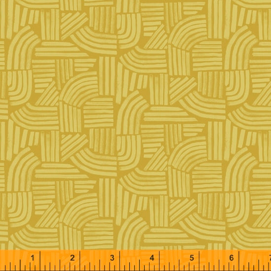 Wildflower Collection, Linea, Ochre Cotton Fabric by Kelly Ventura for Windham, 52254-12