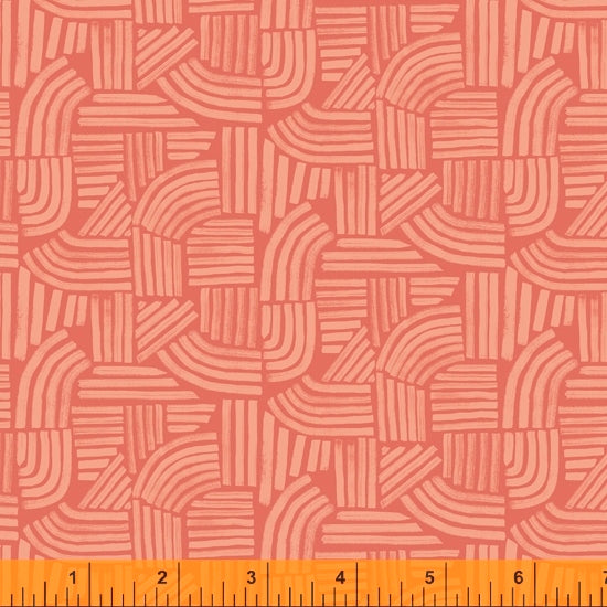 Wildflower Collection, Linea, Coral Cotton Fabric by Kelly Ventura for Windham, 52254-7