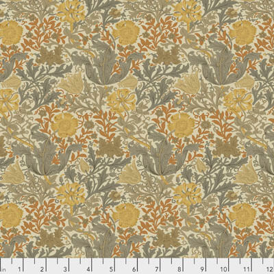 Fabric Compton, color Amber, BLOOMSBURY Collection from Morris & Co for Free Spirit.