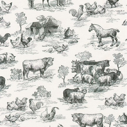 Fabric AGBD-18645-2 BLACK from Down On The Farm Collection, from Robert Kaufman