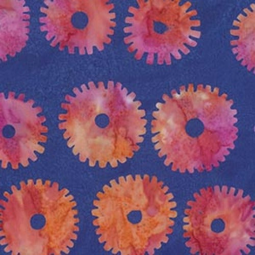 Fabric  Saw Circles - Royal,  BKKF001.0ROYA, Artisan Collection from Kaffee Fassett for Free Spirit.