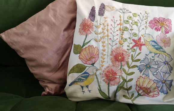 Annie Morris Embroidery Color Printed BOTANICAL BLUETIT Cushion Panel